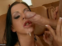 Filthy Larissa Dee gets her mouth dripping hot after a nice and wild fuck