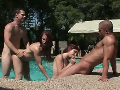 Filthy whore Raylene gets plowed in a pool-fucking action with her daughter