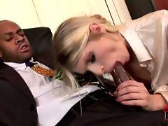 Raunchy blond Wiska sucks on a huge black dick before getting her pussy pounded