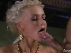 Horny beautiful Florina Rose is creamed on her bitchy mouth after one hard fuck