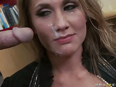 Deserving bitch Alanah Rae is creamed allover her face after fucking wild
