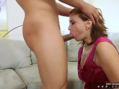 Blonde whore Rebecca Bardoux is getting facefucked by an angry hard cock