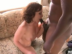 Hot milf Katie St Ives lollipops on a black pole with so much pleasure