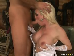 Hot momma Diamond Foxxx fires up on the deck blowing a nice stiff cock