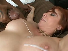 Busty bitch Brittany Oconnell is glazed with creamy cum on her huge tits