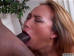 Sexy actress Bamboo chokes on a huge black tool but her lust drives her on