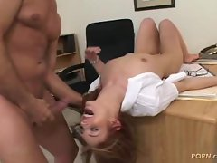 Riley Shy lays down on the job as her well-hung boss face fucks her