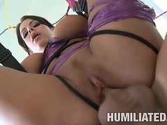 Hot brunette milf Victoria Valentino takes a blast of cum in her mouth