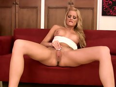 Sexy shaved Chloe Cruize is loving her fingers tickling on her hot snatch