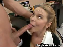 Hot milf Lynn Lemay feasts on a young throbbing cock after class.