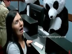 Cute awesome brunette dreaming panda sex