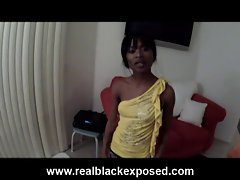 Tight body ebony Trina naked at the balcony