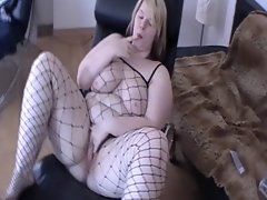 German BBW Becky sexblonddi teases in a net suit