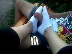 footjob white socks