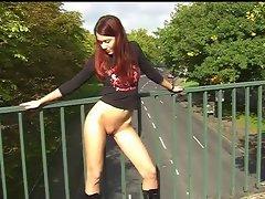 Skinny redhead stripping in public