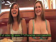 Mesmerising Lesbians Public Flashing Boobs