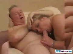Horny UK BBW housewife blows him and rides him in her shaved pussy