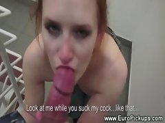 Ginger babe sucks and fucks in public