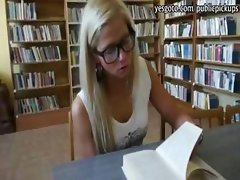 Innocent blonde girl in library coochie pounded for money