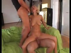 Slut blonde fucking with two hard dicks