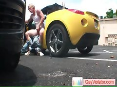 Blond dude gets anus hammered in car part1