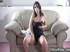 Gorgeous busty honey strips and fondles herself