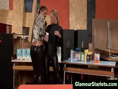 Glam lesbos get nasty