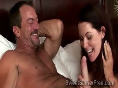 Perv gets sucked off by best friends gorgeous cheating wife