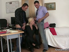 Job interview with lewd blonde granny leads to fervent threesome