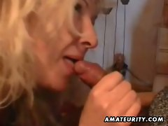 Mature granny sucks down this big hard cock