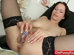 Milf having her pussy examined by horny doctor