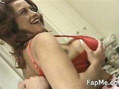 Busty slut loving a massive cock