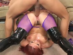 Red head whore in purple stockings extreme anal