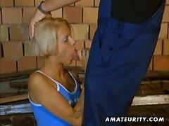 German blondie takes hardcore anal on the floor