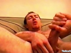 Amateur and kinky bear strokes his cock