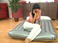 Hot brunette gives great foot massage