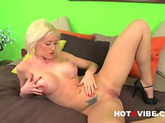Victoria waigel, busty big tit blonde pornstar strips