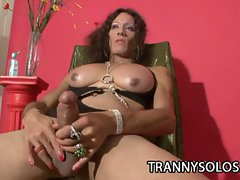 Horny shemale karen teasing her tits and cock