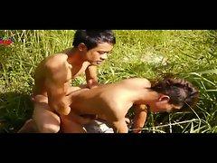 Two asian boys fucking outdoors