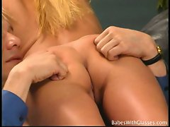 Hot blonde cassie young gets a massage