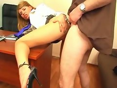 Blonde secretary fucked by boss