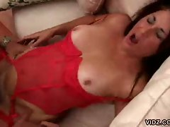 Mature milf in lingerie and stockings gets pussy pounded