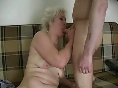 Chubby blonde granny seduces a young guy