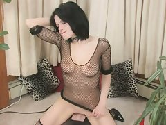 Big tits chick in fishnets rides sybian