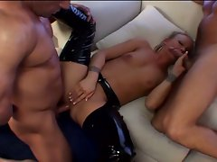 Two blonde sluts hot pussy and ass fucking dp group sex