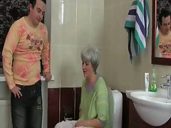 Gray haired granny gets drilled in the bathroom