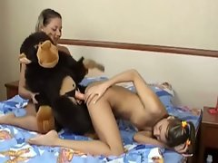 Cute teen lesbian bombshells playing with sweet cunts and toys