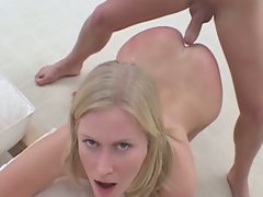 Beautiful blonde vixen sucks down this hot cock