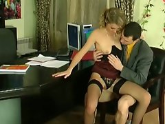 Flirty secretary opens wide to please her boss' anal cravings