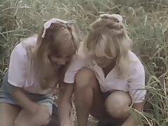 Classic. Girls in a field